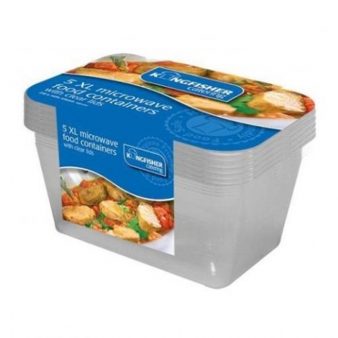 2000ml Large Plastic Microwave Food Containers & Lids - Kingfisher Catering (Pack of 5)